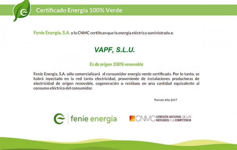 At VAPF, we have achieved the 100% Green Energy Certificate