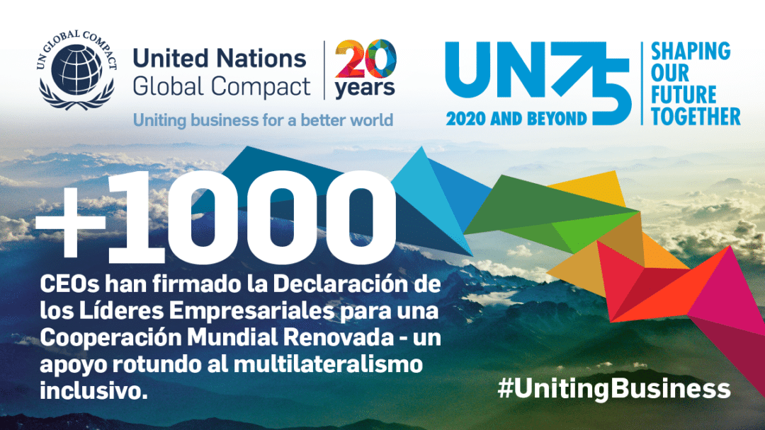 Business leaders from more than 100 countries pledge support for multilateralism as the united nations turns 75