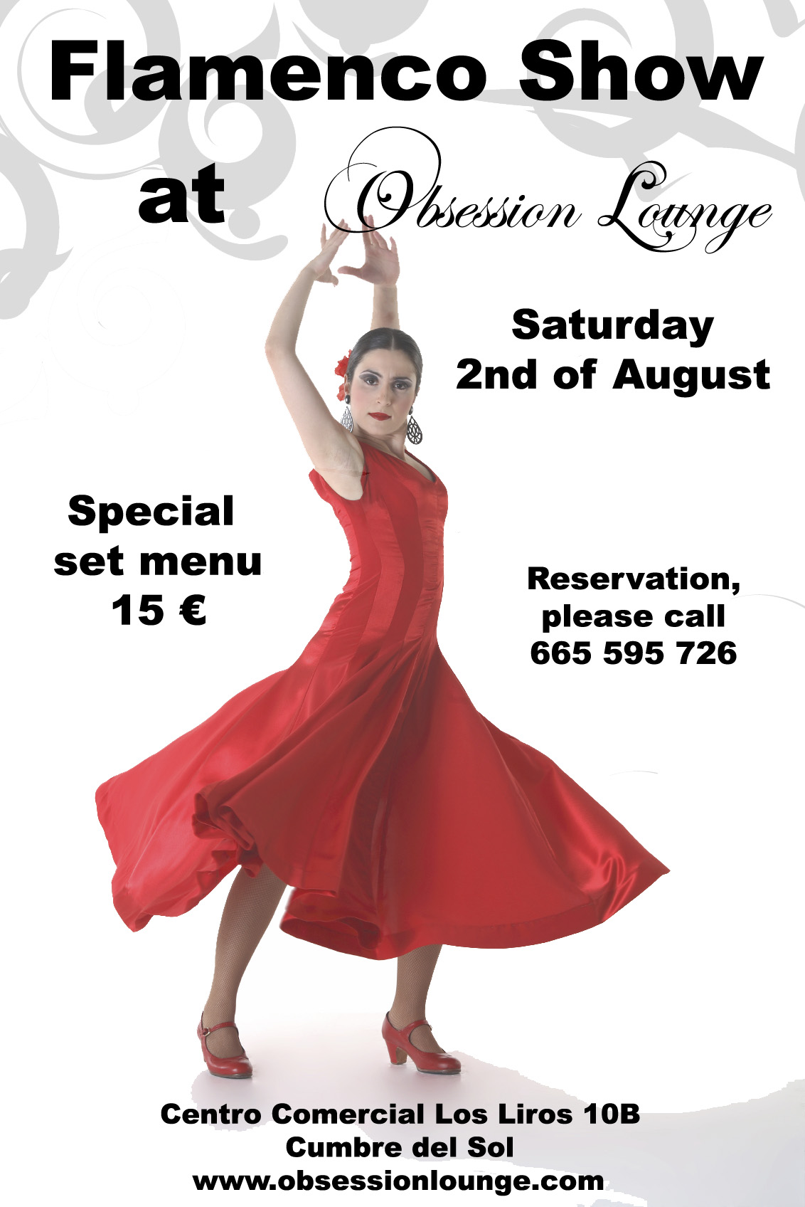 Poster of the Flamenco Night organized by Obsession Lounge
