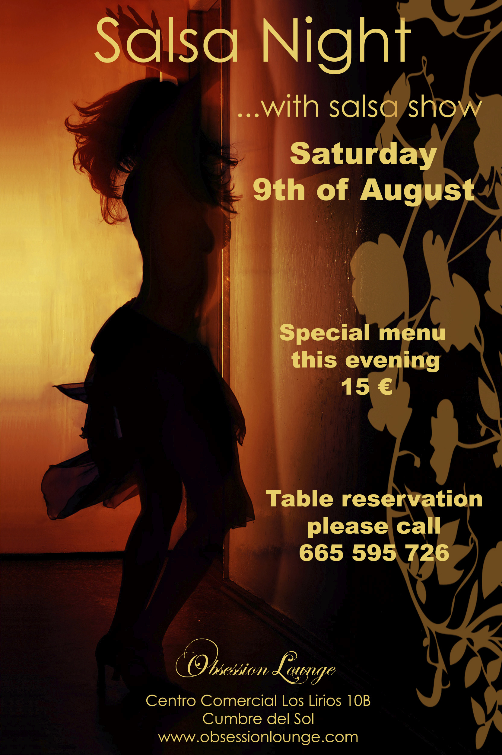 Poster of the Salsa night organized by Obsession Lounge
