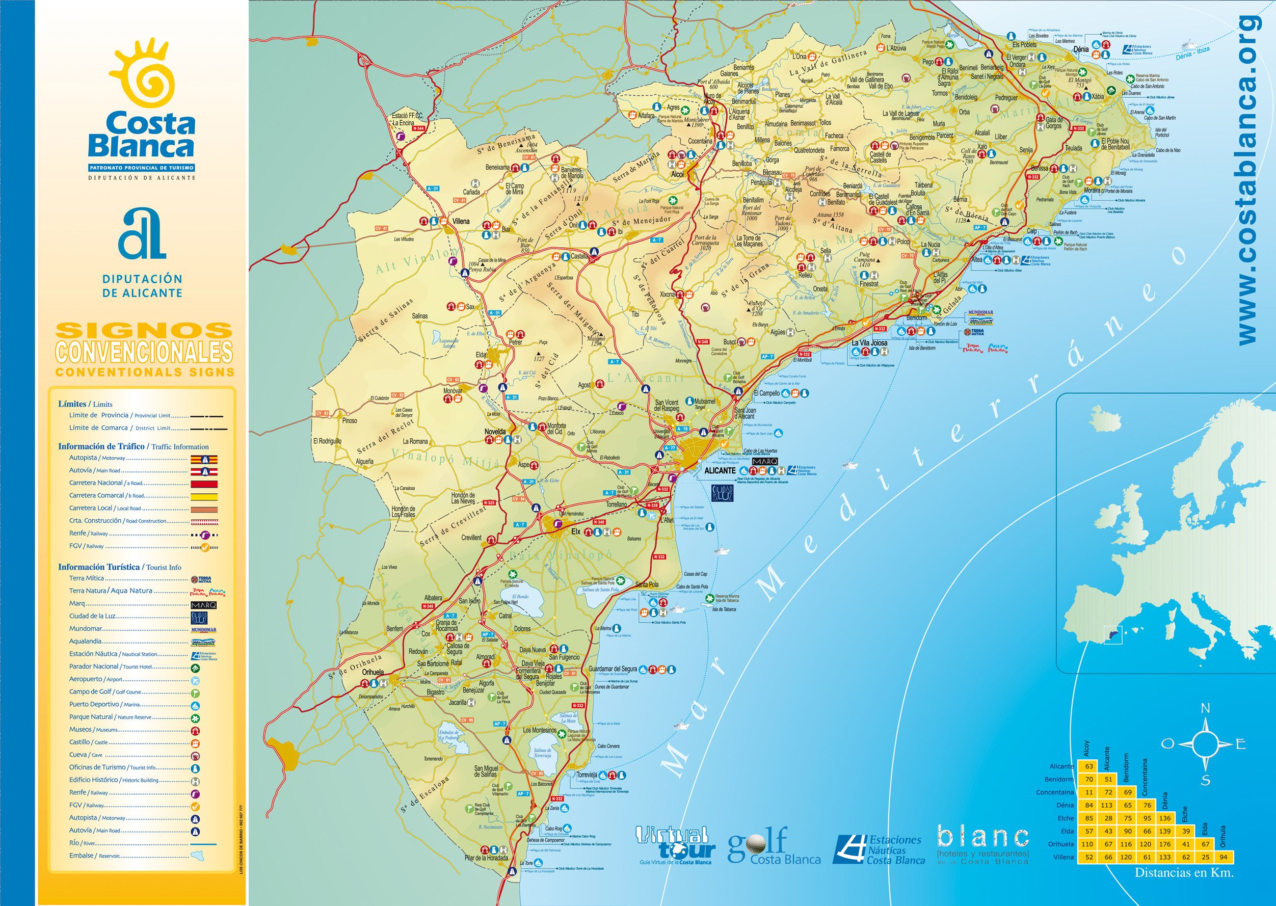 Map Costa Blanca - World map la